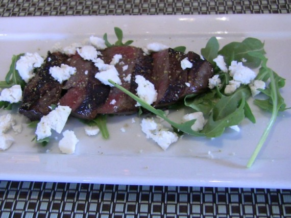 Grilled Lamb Heart Salad with cheese & wild fennel pollen