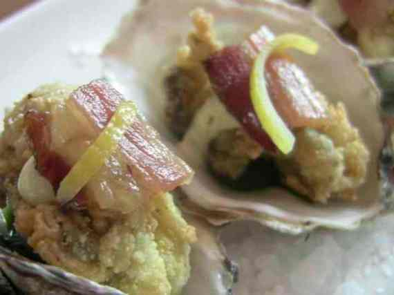Cornmeal Fried Oysters with Hobbs Bacon - Town Hall, SF