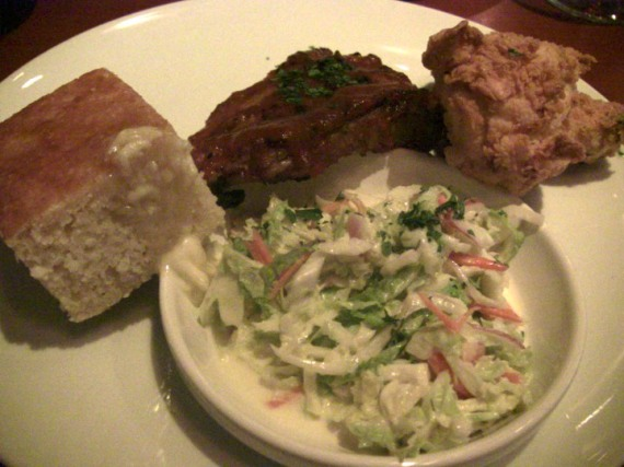 Buttermilk Fried Chicken (with BBQ ribs, slaw, cornbread)